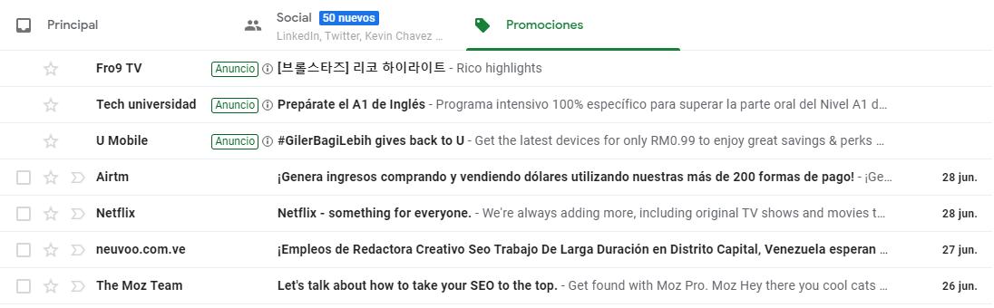 Publicidad de Gmail