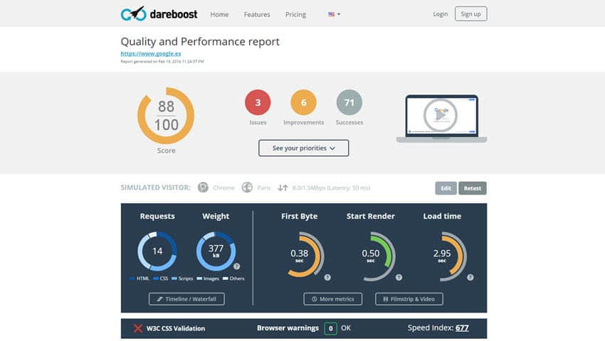 Dareboost administra el rendimiento web con funciones más allá de la velocidad, como el monitoreo, análisis y evaluación comparativa.